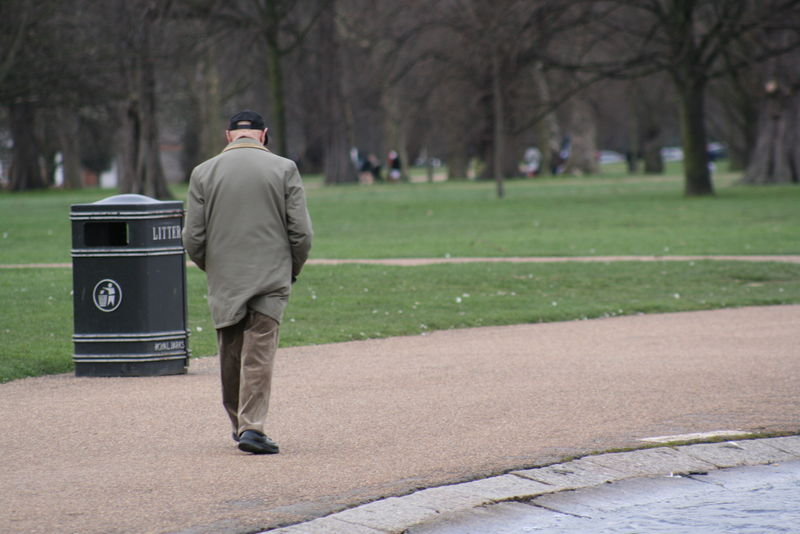 Person walking in Hyde Park